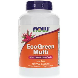 NOW Foods - Multiwitaminy EcoGreen Multi, Bez Żelaza, 180 vkaps